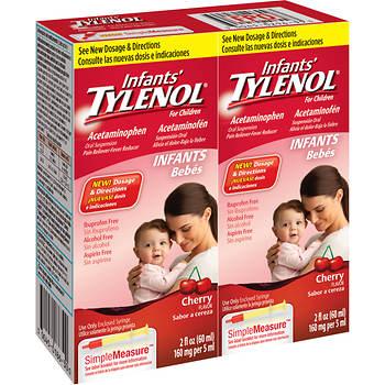 Infant's Tylenol Cherry Flavored Liquid, 2 Fl. oz., 2 pk.