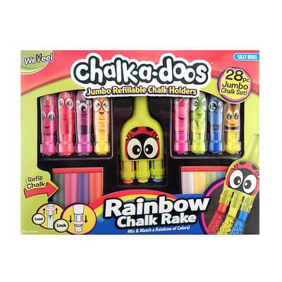 Chalk-a-doos Jumbo Refillable Chalk Set and Rainbow Chalk Rake