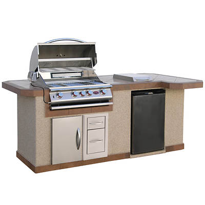 Cal Flame Porcelain Tile Barbecue Island with 4-Burner Gas Grill, Side Burner and Refrigerator
