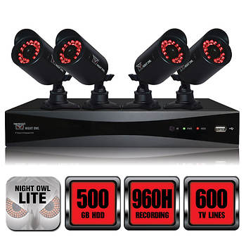Night Owl 8-Channel 4 Indoor/Outdoor Night Vision Cameras with 500GB HDD 960H DVR Security System