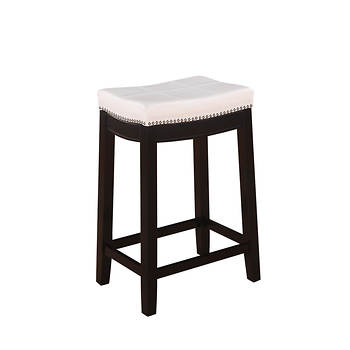 "Linon Claridge 24"" Barstool - White/Dark Brown"