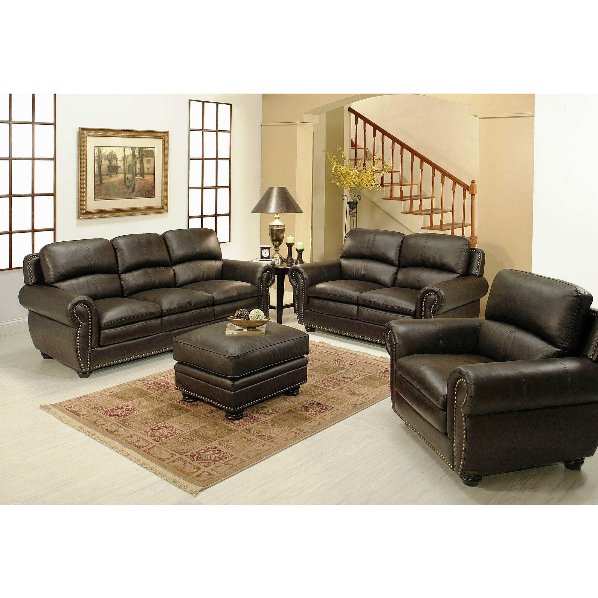 abbyson living kingston 4 pc leather living room set 2 tone