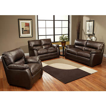 Abbyson Living Aroma 3-Pc. Leather Living Room Set - Dark Brown