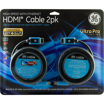 GE UltraPro High-Speed HDMI Cables with Ethernet