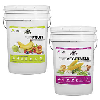 Augason Farms Freeze Dried Vegetable Variety Pack and Freeze Dried Fruit Variety Pack, 6 Gal.