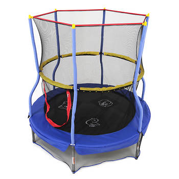 "Skywalker Trampolines 55"" Round Mini Trampoline with Interactive Animal Sound Game and Enclosure"