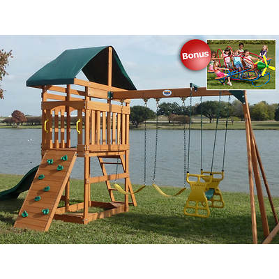 Creative Cedar Designs Skyview Swing Set with Sandbox, Picnic Table and 7-Seat Airplane Teeter Totter