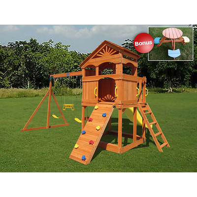Creative Cedar Designs Timber Valley Swing Set with Round Picnic Table