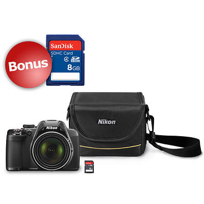 "Nikon COOLPIX P530 16.1MP 3"" LCD 42x Optical Zoom Digital Camera Bundle with Case, Bonus 8GB SD Card"