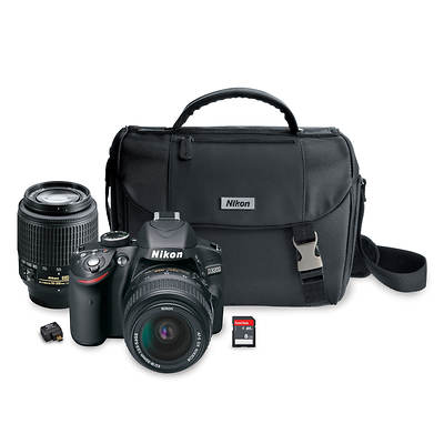 "Nikon D3200 24.2MP Wi-Fi  3"" LCD HD SLR Digital Camera Bundle with NIKKOR 18-55mm and 55-200mm Lens, Bag, 8GB SD Card"