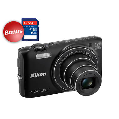 "Nikon S6800 16MP 3"" LCD 12x Optical Zoom Digital Camera, Zoom-NIKKOR Glass Lens, Built-In Wi-Fi, Bonus 8GB SDHC"