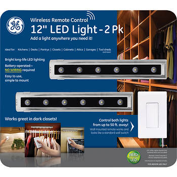 "GE Wireless Remote Control 12"" LED Light, 2 pk."