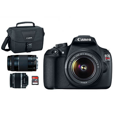 "Canon EOS Rebel T5 18MP 3"" LCD Digital DSLR Camera Bundle with EF-S 18-55mm IS II Lens, EF 75-300 III Lens, 16GB SD, Bag"