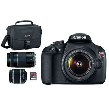 Canon EOS Rebel T5 18MP CMOS DSLR Camera with EF-S 18-55mm IS II Lens, EF 75-300 III Lens, 16GB SD, Bag