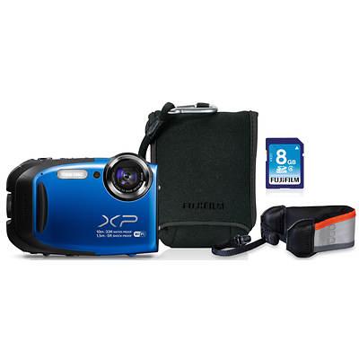 "Fujifilm FinePix XP70 Waterproof 16.4MP 2.7"" LCD 5x Optical Zoom Digital Camera Bundle - Blue"