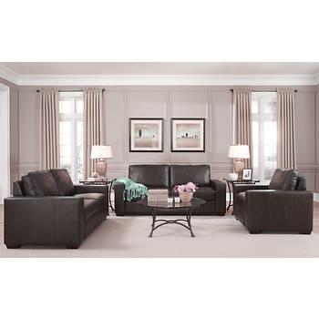 West Hampton Siena 3-Pc. Leather Living Room Set - Deep Java