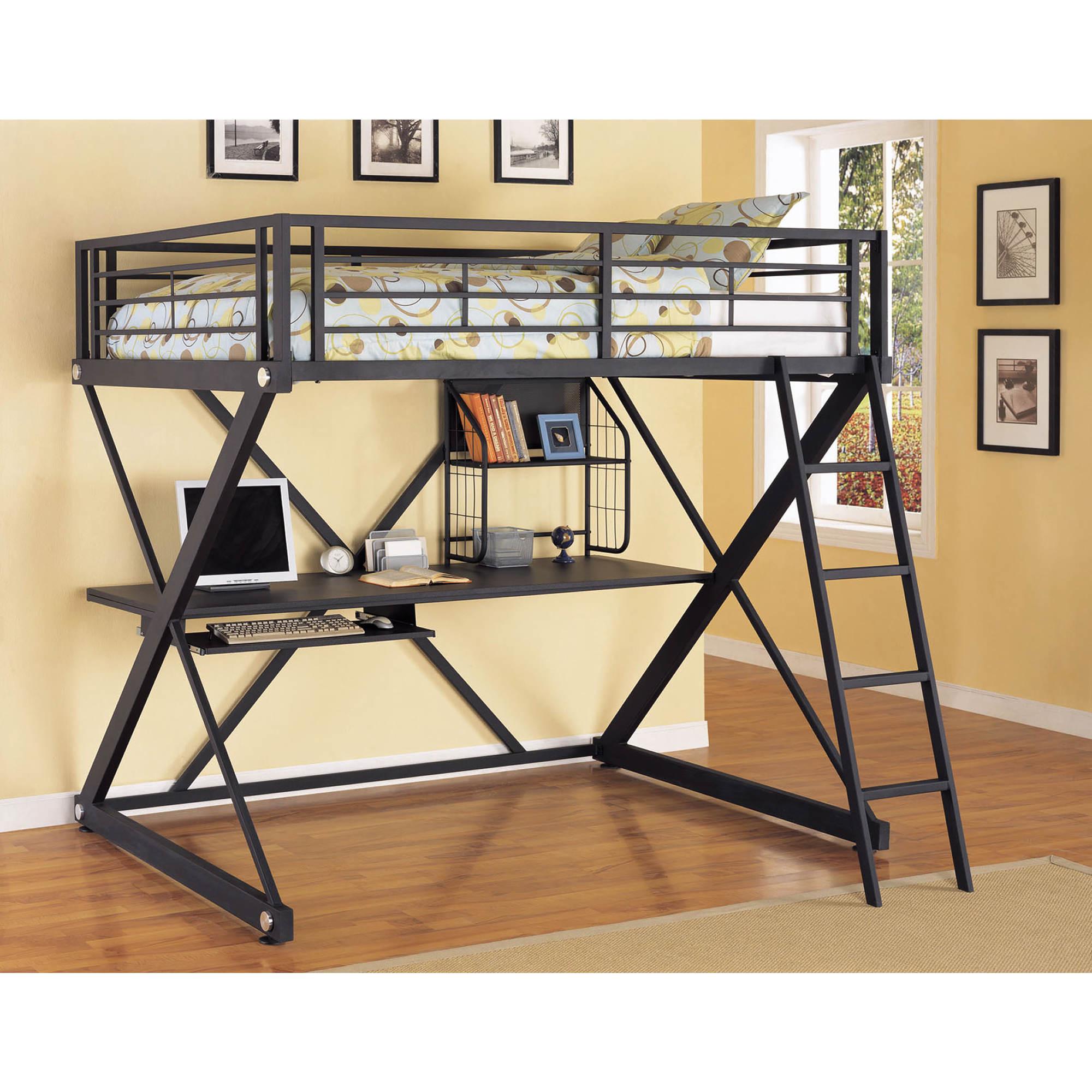Loft bed for full size mattress - Powell Z Bedroom Full Size Study Loft Bunk Bed Textured Black