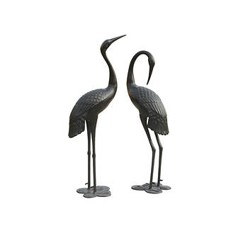 Sunjoy Male and Female Crane Garden Statue, Set of 2