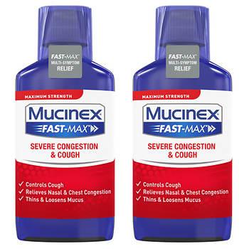 Mucinex Fast-Max Severe Congestion & Cough Maximum Strength Multi-Symptom Liquid, 2 pk./9 fl. oz.