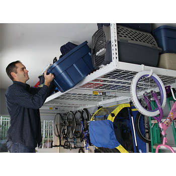 "SafeRacks 4' x 8' Overhead Storage Rack, 12""-21"" Ceiling Drop"