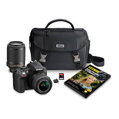 "Nikon D3300 24.2MP CMOS 3"" LCD Digital SLR Camera Bundle with NIKKOR AF-S DX 18-55mm and 55-200mm VR Lenses and 16GB SD"