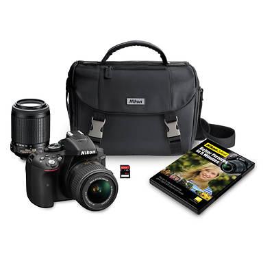 """Nikon D5300 24.2MP CMOS 3.2"""" LCD Digital SLR Camera Bundle with NIKKOR AF-S DX 18-55mm and 55-200mm VR Lenses and 32GB SD"""