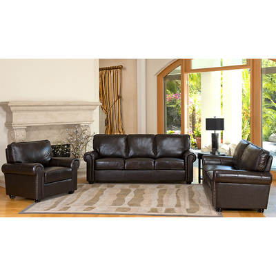 Abbyson Living Bedford 3-Piece Top-Grain Leather Living Room Set