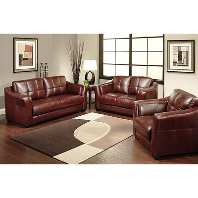 Abbyson Living Aspen 3-Piece Top-Grain Leather Living Room Set