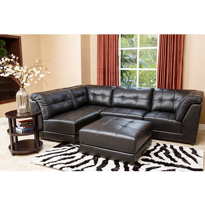 Abbyson Living Emma 5-Piece Top-Grain Leather Sectional Set - Black
