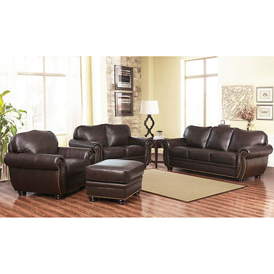 Abbyson living barrington 4 piece top grain leather living for 4 piece living room set