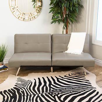 Abbyson Living Milano Leather Convertible Sofa - Gray