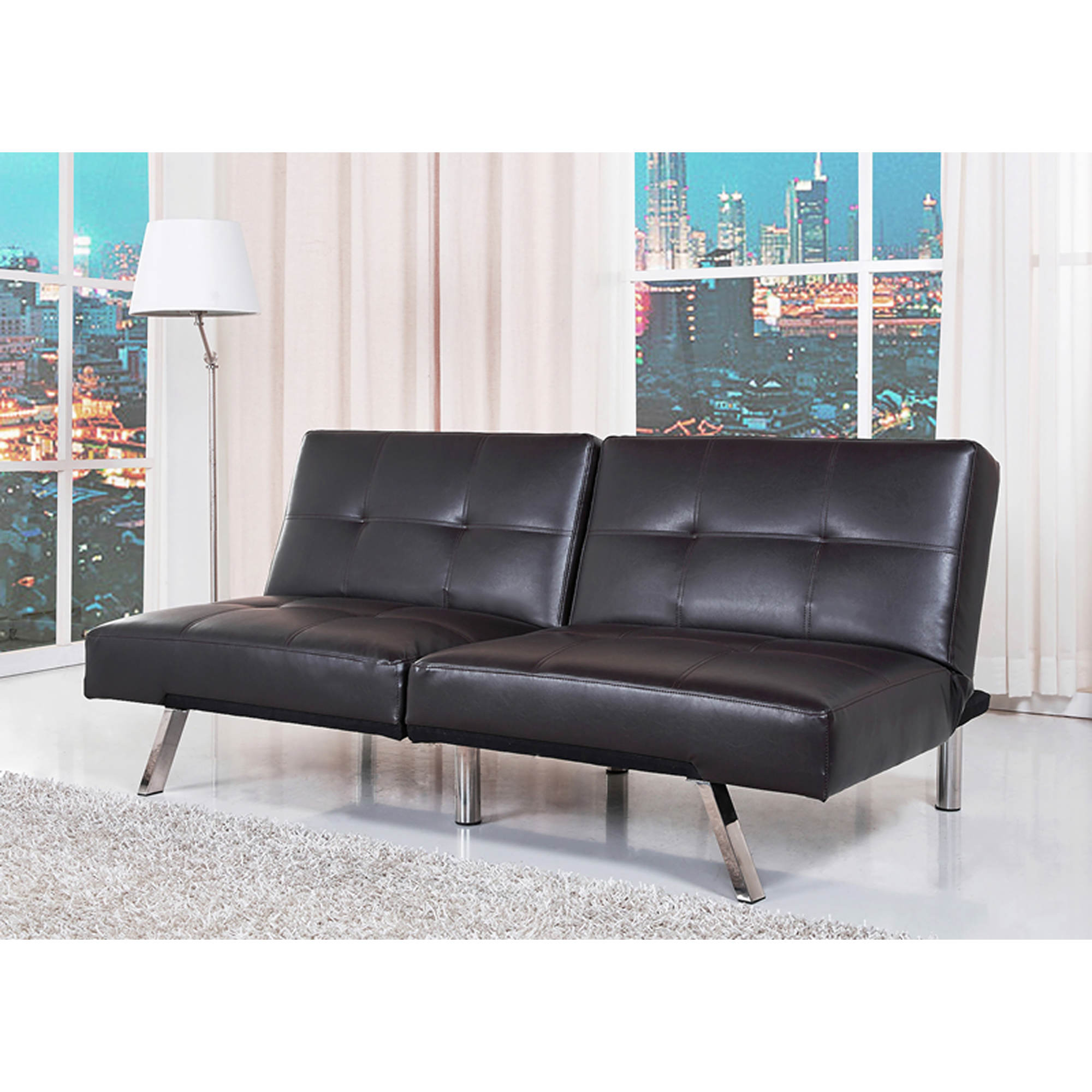 Black Leather Convertible Sofa Thesofa