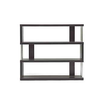Baxton Studio Barnes 3-Shelf Bookcase - Dark Brown