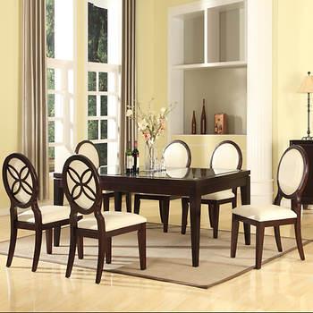 Baxton Studio Vandegriff 8-Pc. Dining Set - Brown, Ivory