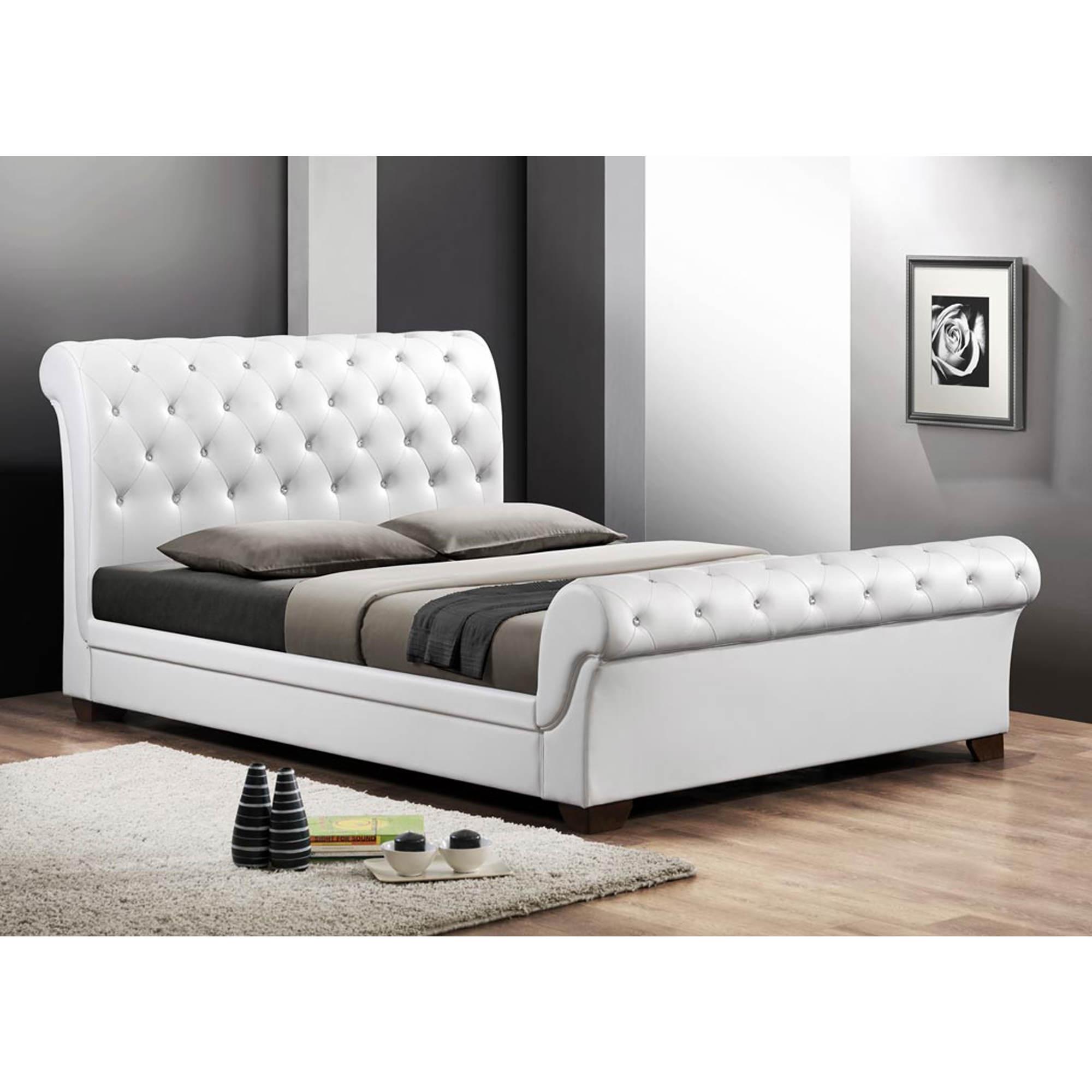 Baxton Studio Leighlin Fullsize Sleigh Bed With Upholstered Headboard   White