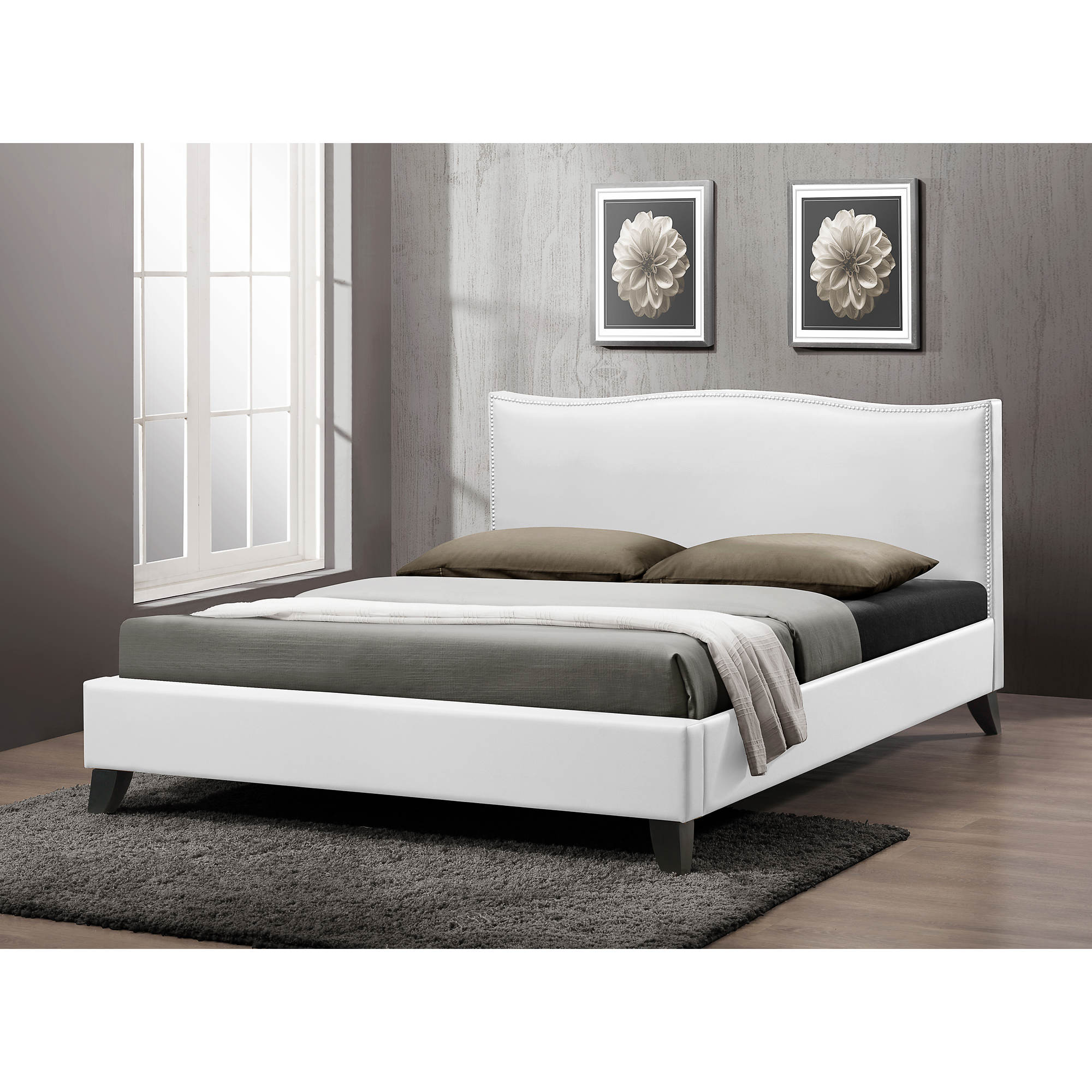 baxton studio battersby full size bed with upholstered headboard white