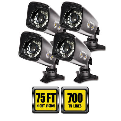 Night Owl High-Resolution Indoor/Outdoor Security Cameras with 75' of Night Vision and Stands, 4-Pk