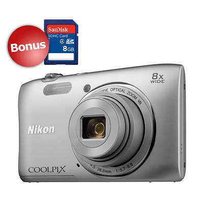 "Nikon COOLPIX S3600 2.7"" LCD 20.1MP 8X Optical Zoom Digital Camera with Bonus 8GB SDHC - Silver"