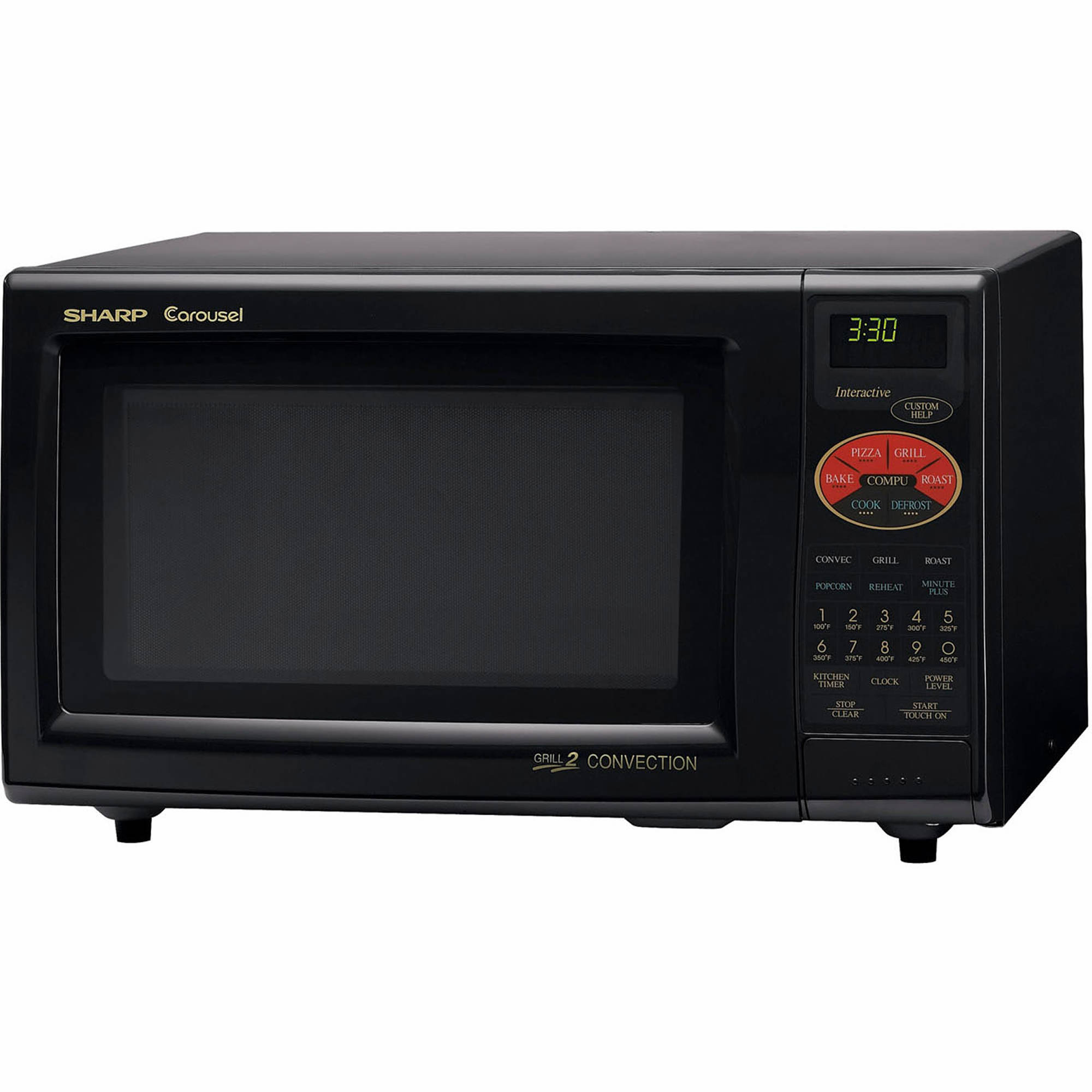 sharp r820bk 0 9 cu ft 900w grill 2 convection microwave. Black Bedroom Furniture Sets. Home Design Ideas
