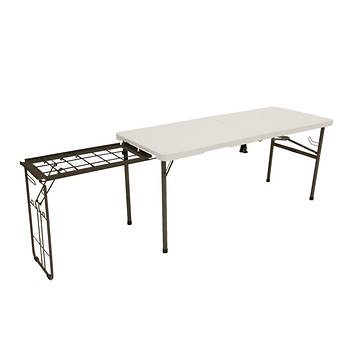 "Lifetime 5'6"" Folding Tailgate Table with Camping Grill - White"