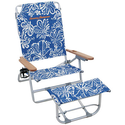 Tommy Bahama Oversized Aluminum Beach Chair with Footrest - Blue Floral