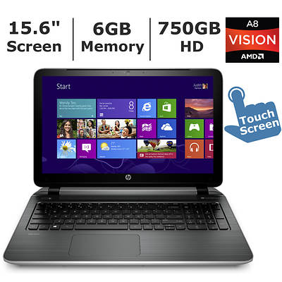 HP Pavilion 15-p010usTouchSmart Laptop, 2.4GHz AMD Quad-Core A8-6410 APU Processor
