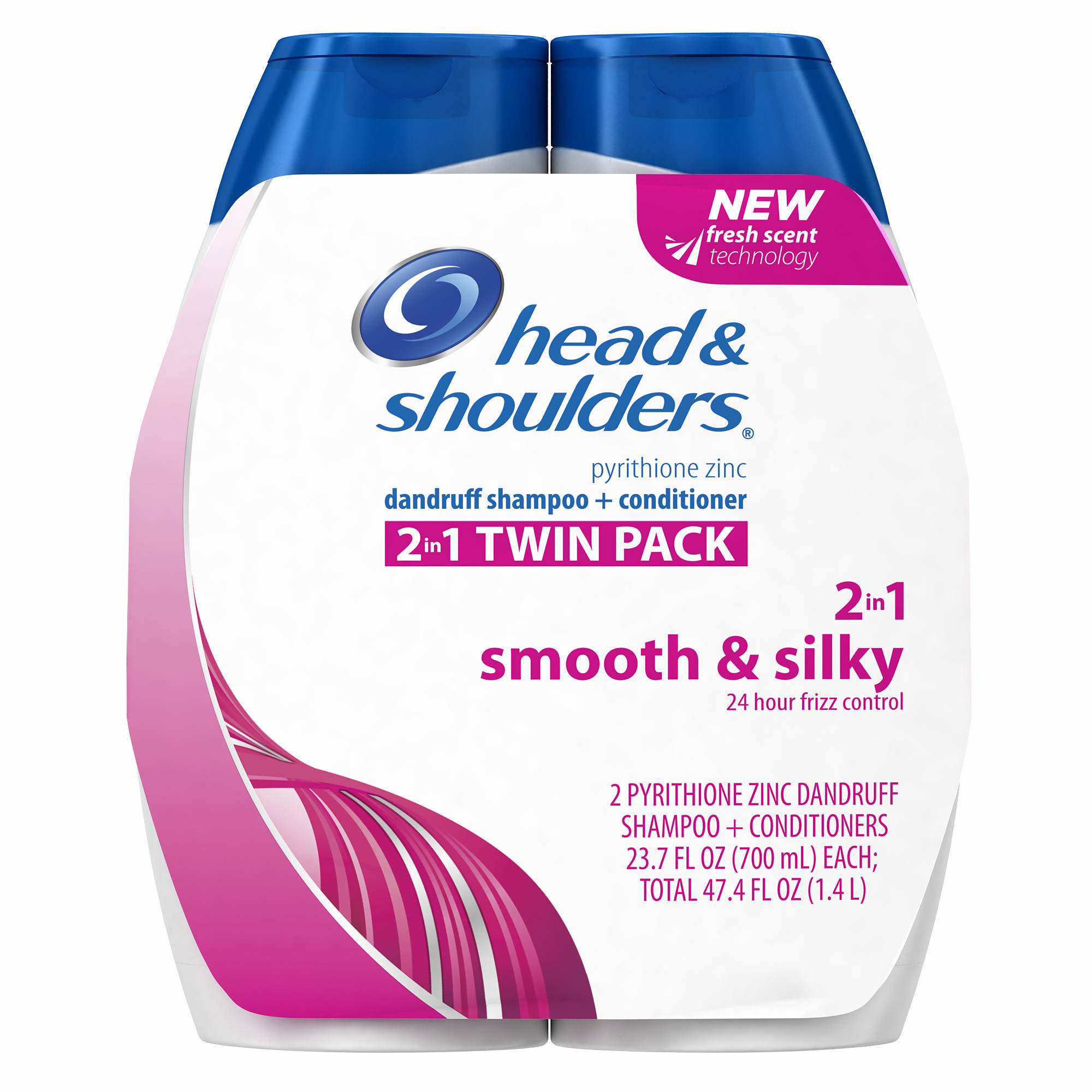 colour care head and shoulders : Head Shoulders Smooth Silky 24 Hour Frizz Control Twin Pack