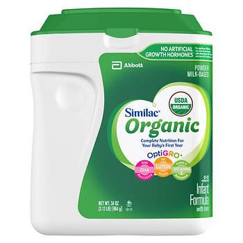 Similac Advance Organic Powder Baby Formula, 34 oz.