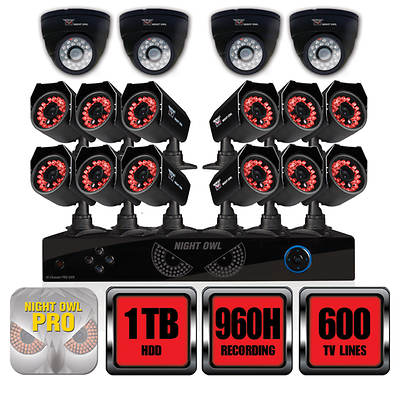 Night Owl 16-Channel 960H DVR with 1TB Hard Drive, 12  Night Vision Cameras, 4 Dome Audio Cameras