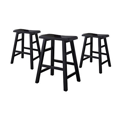Counter Height Saddle Stools, Set of 3 - Black