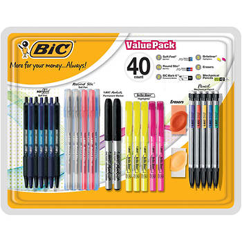 BIC Writing Essentials Value Pack, 40 pk. - Assorted