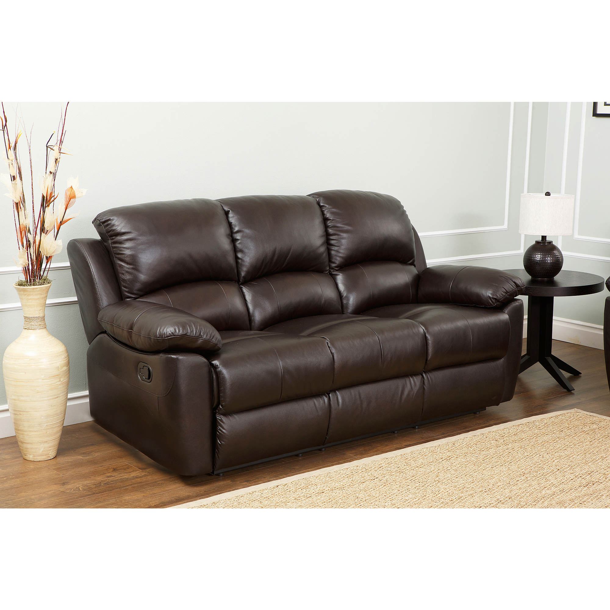 Espresso Leather Reclining Sofa: Abbyson Living Toscana Italian Leather Reclining Sofa