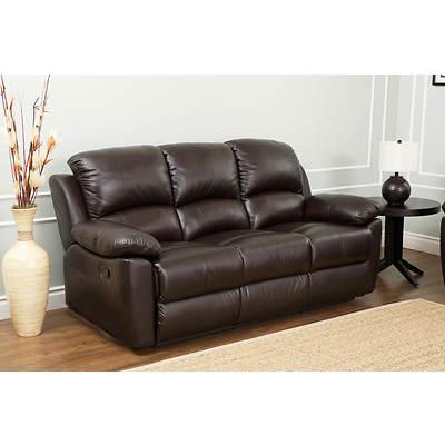 abbyson living toscana italian leather reclining sofa espresso brown