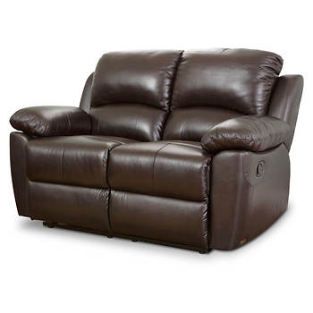 Abbyson Living Toscana Italian Leather Reclining Loveseat - Espresso Brown